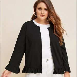 Plus open front ruffle trim jacket-size 16